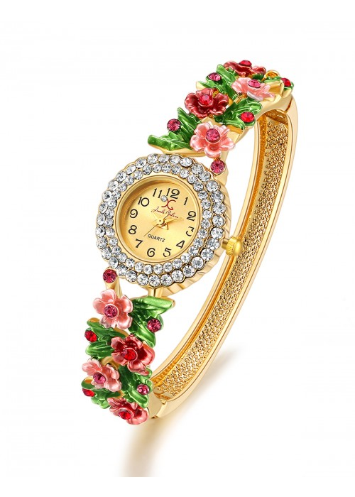 Jewels Galaxy Multicoloured Gold-Plated Studded Handcrafted Bracelet cum Watch