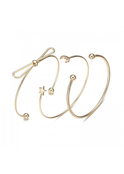 Jewels Galaxy Adorable Star Moon Note Design Gold Plated Stylish Cuff Bracelet For Women/Girls