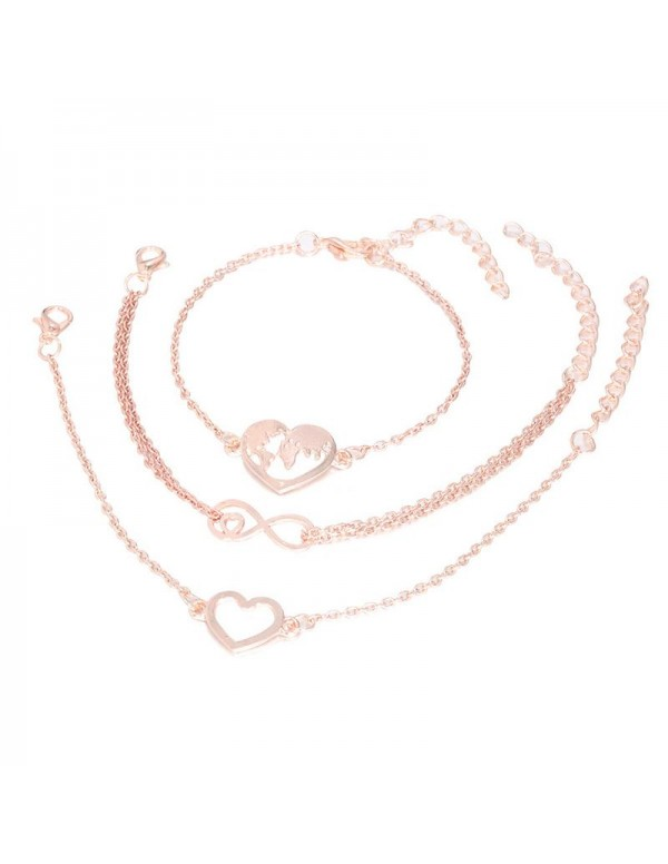 Jewels Galaxy combo of 3 Rose Gold Plated Charm Bracelets