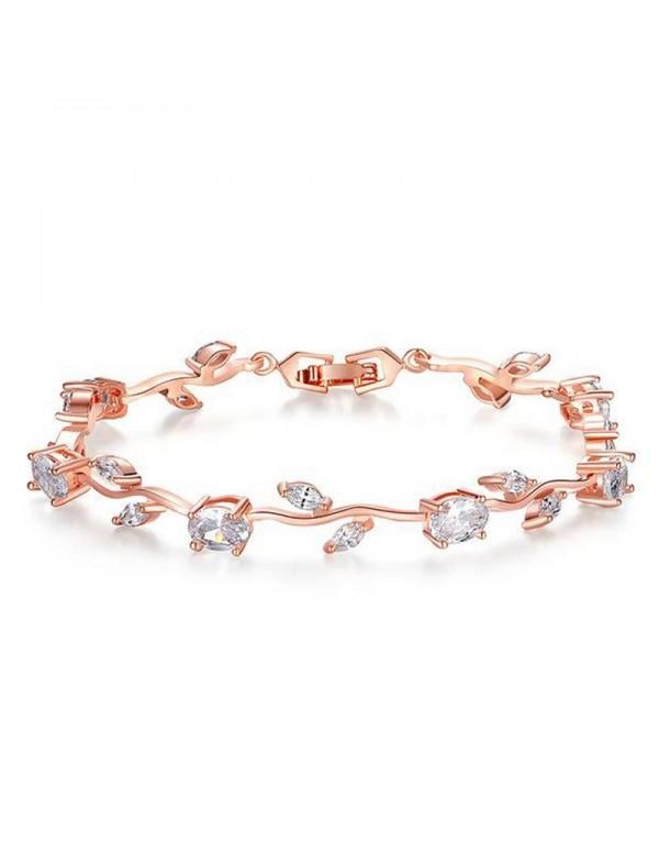 Jewels Galaxy Elegant Crystal Leaf Design Rose Gol...