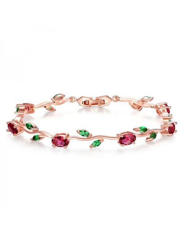 Jewels Galaxy Elegant Crystal Leaf Rose Gold Swank...