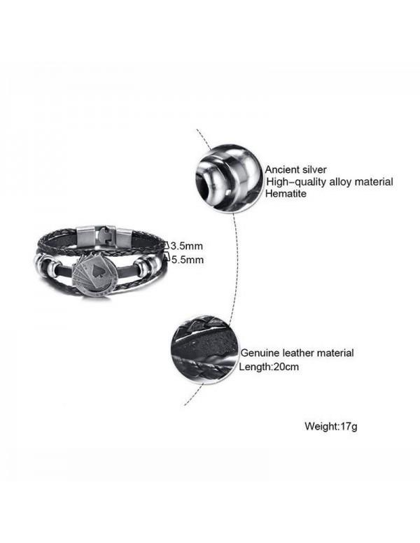 Jewels Galaxy Trendy Vintage Braided  Rope Multilayer Bracelet For Men