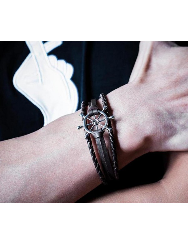 Jewels Galaxy Exclusive Ship Wheel Stainless Steel Leather Wrist Bracelet For Men