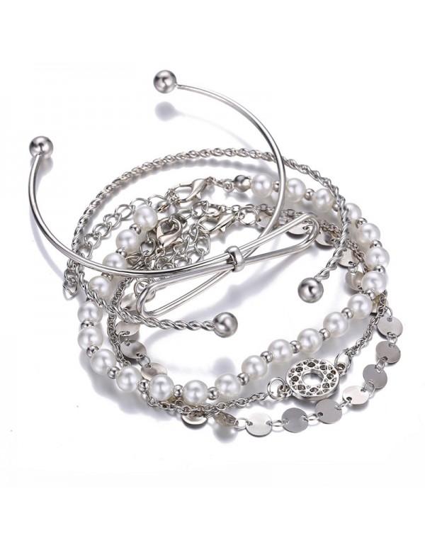 Jewels Galaxy Set of 5 Silver Plated Boho Bracelet...