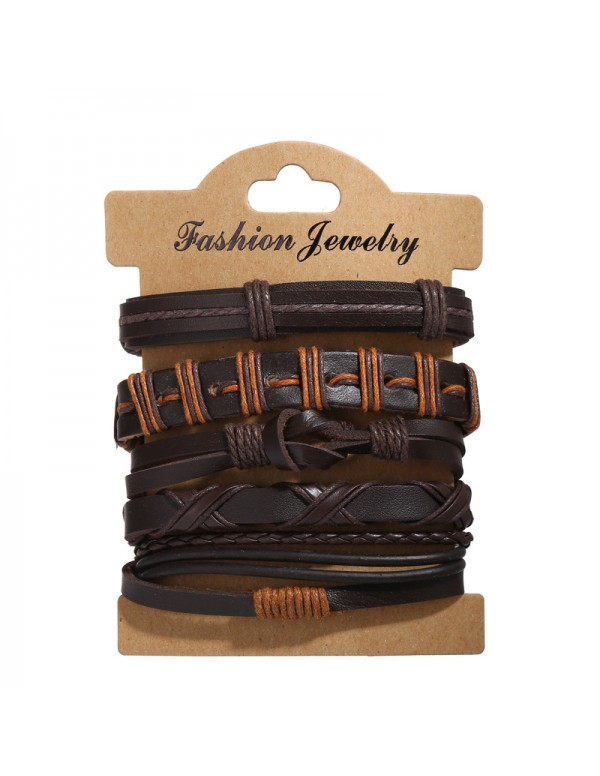 Jewels Galaxy Multi Layered Lather Bracelet for Men 49084