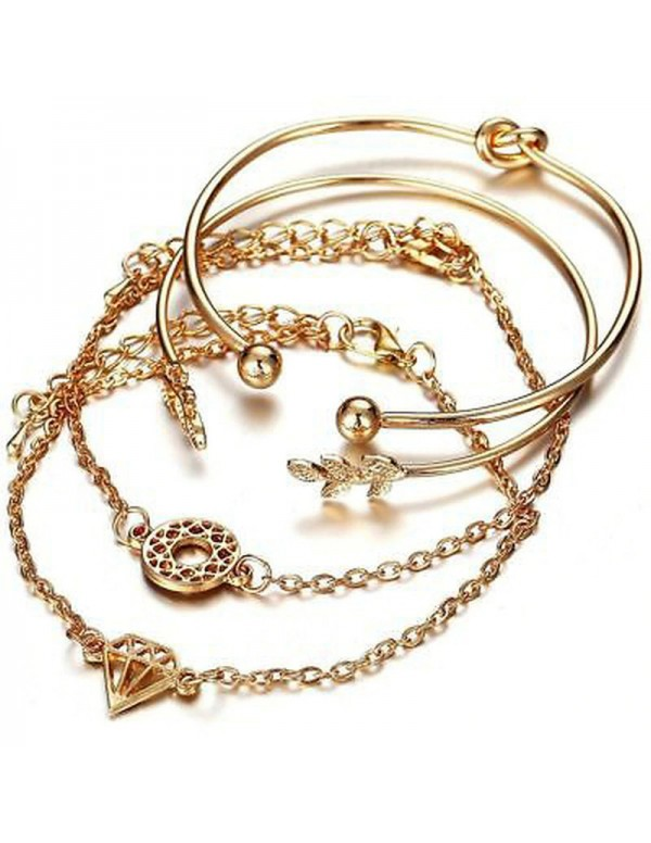 Jewels Galaxy AD Gold Plated Multi Strand Bracelet Jewellery For Women