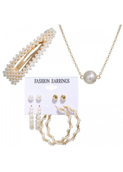 Jewels Galaxy Stunning Pearl Gold Plated Earrings with Hair Clip and Necklace for Women/Girls