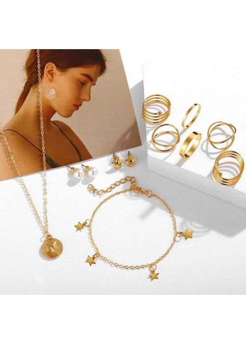 Jewels Galaxy Pearl Gold Plated Earrings with Necklace and Beatiful Rings with Bracelet for Women/Girls