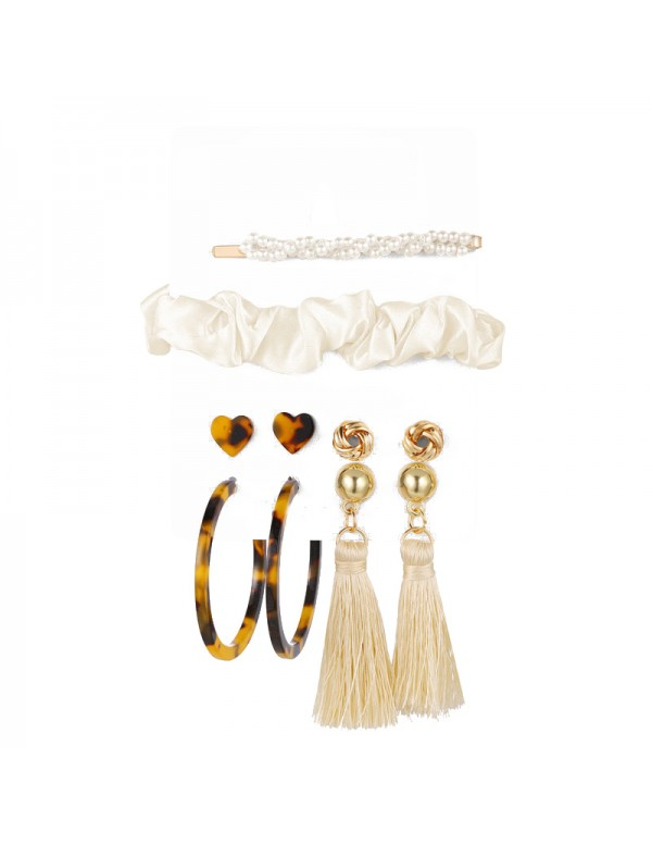 Jewels Galaxy Gracious Pearl Gold Plated 4 Pair of Earrings with Hairband and Hair Clip for Women/Girls