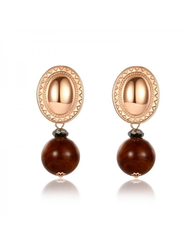 Jewels Galaxy Gold Plated Brown Drop Earrings