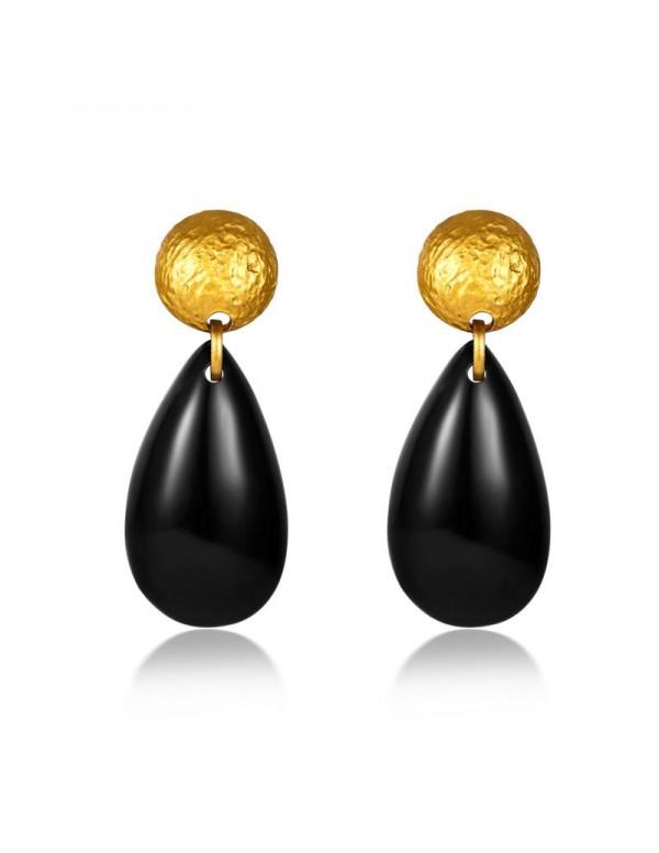 Jewels Galaxy Gold Plated Black Drop Earrings
