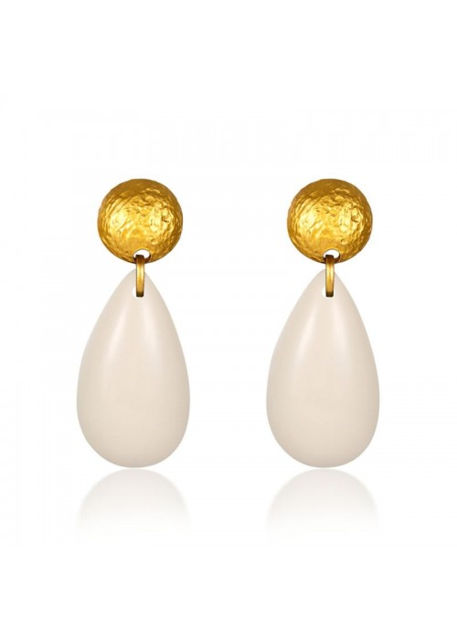 Jewels Galaxy Gold Plated White Drop Earrings 45009