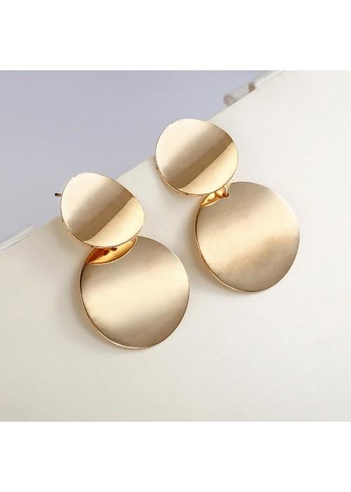 Jewels Galaxy Elegant Circular Unique Metal Brilliant Drop Earrings For Women/Girls 45059
