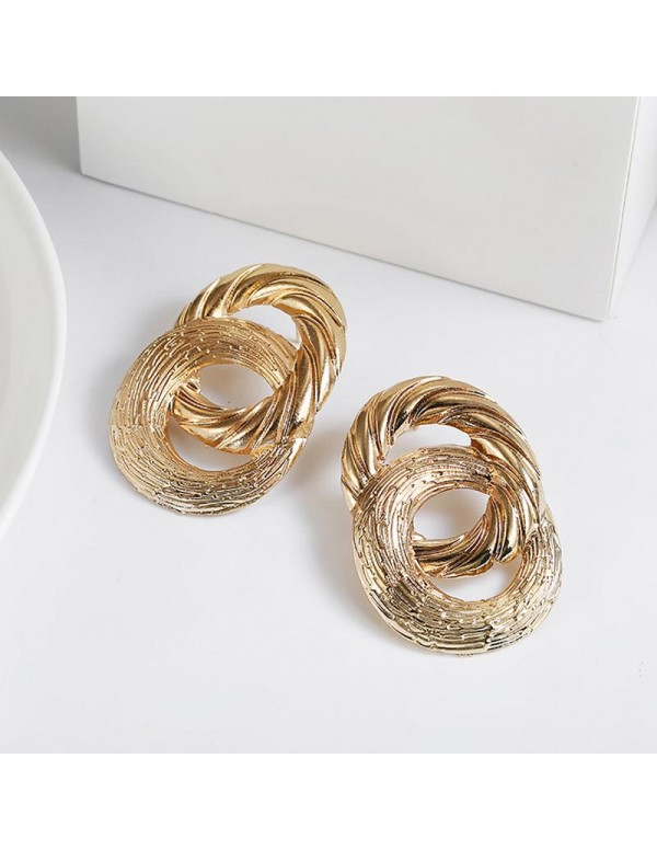 Jewels Galaxy Trendy Crossed Circular Gold Plated Marvelous Drop Earrings For Women/Girls 45075