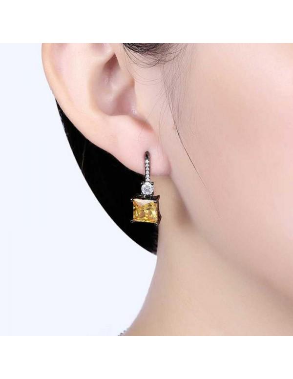 Jewels Galaxy Trendy Crystal Geometric Silver Plated Stunning Drop Earrings For Women/Girls 45106