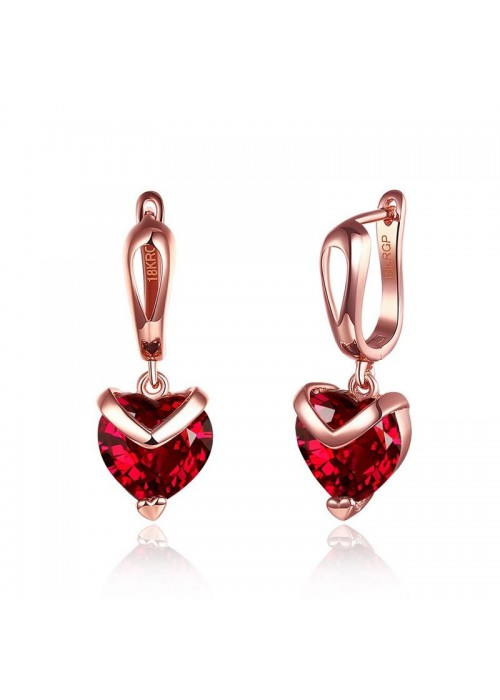 Jewels Galaxy Magnificent Crystal Heart Rose Gold Amazing Drop Earrings For Women/Girls 45110