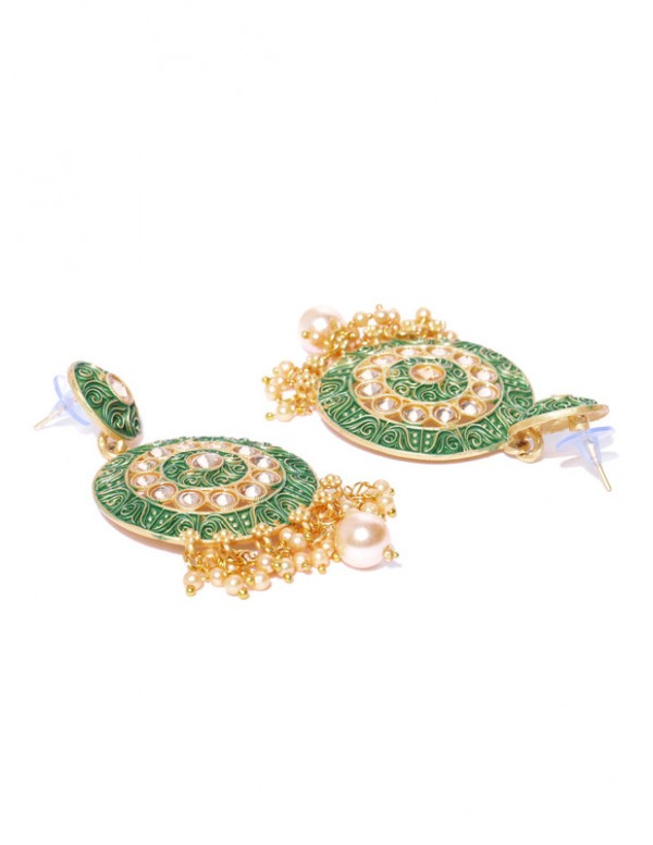 Jewels Galaxy Green Gold Plated Pearl Studded Drop Earrings