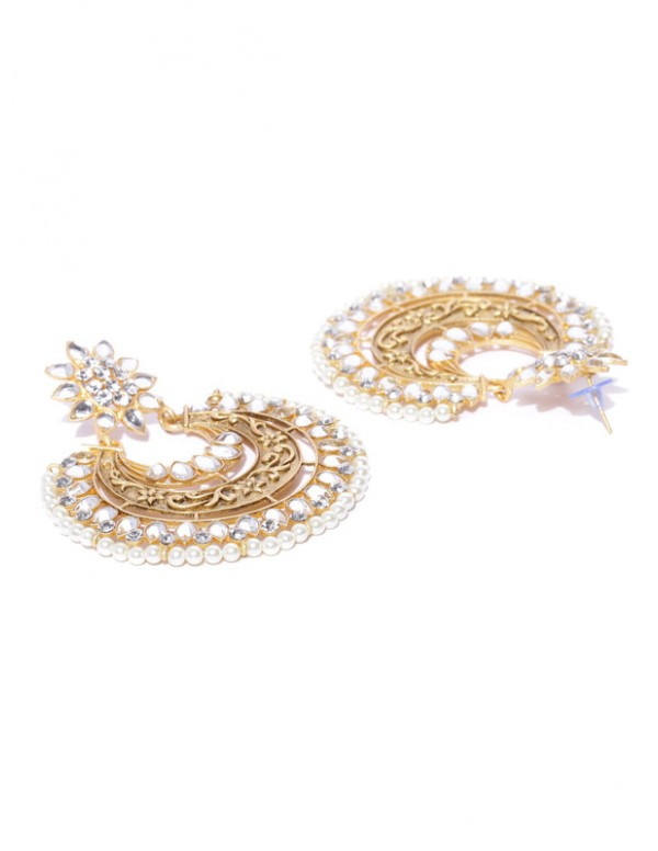 Jewels Galaxy White Gold Plated AD Studded Drop Earrings