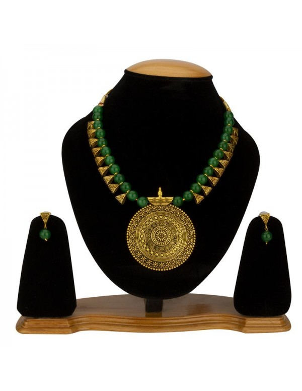 Jewels Galaxy Green Copper Plated Pearl Necklace S...