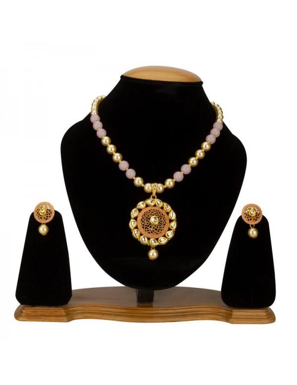 Jewels Galaxy Pink GP Kundan studded Pearl Necklac...
