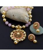 Jewels Galaxy Pink GP Kundan studded Pea...