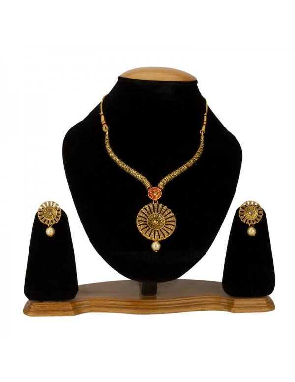 Jewels Galaxy Gold-Toned GP AD Necklace Set 44017