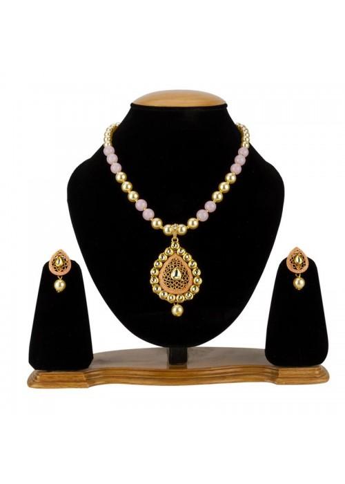 Jewels Galaxy Pink GP Kundan studded Pearl Necklace Set