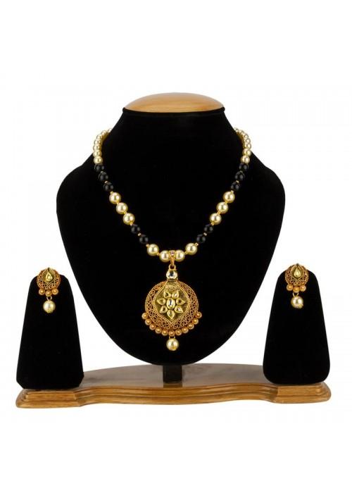Jewels Galaxy Black GP Kundan studded Pearl Necklace Set