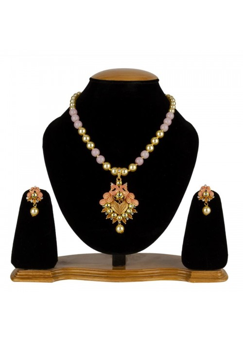 Jewels Galaxy Pink GP Kundan studded Pearl Necklace Set