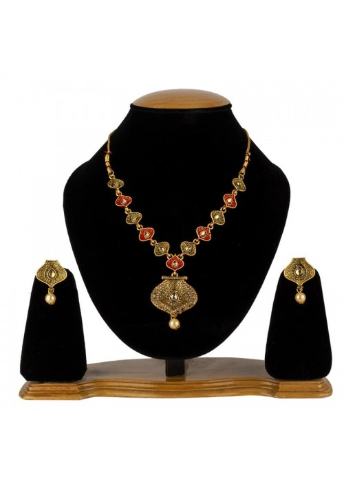 Jewels Galaxy Copper Plated American Diamond Traditional Necklace Set