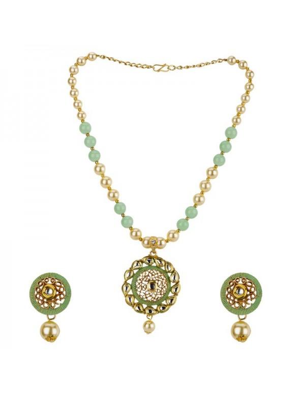 Jewels Galaxy Green GP Kundan studded Pearl Necklace Set