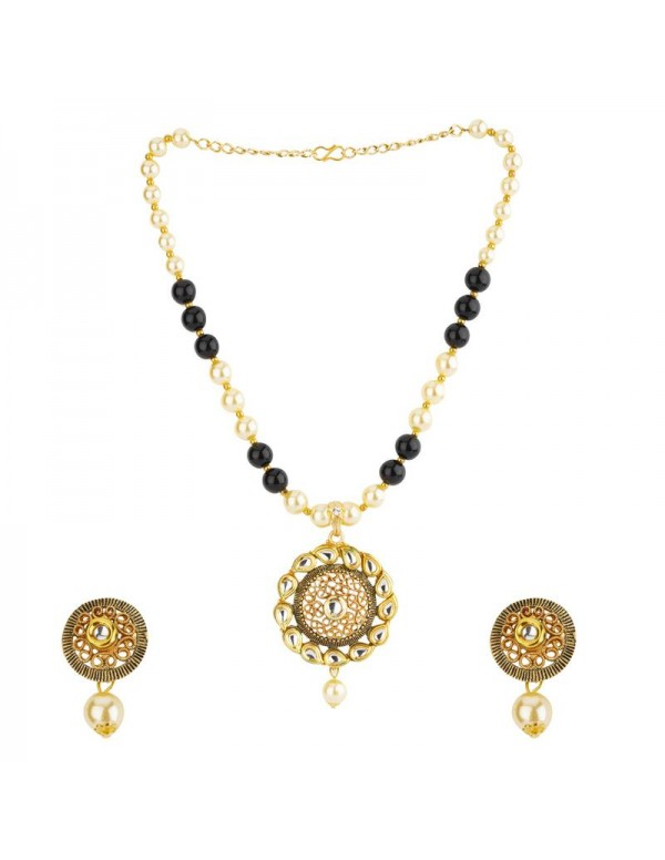 Jewels Galaxy Black GP Kundan studded Pearl Neckla...