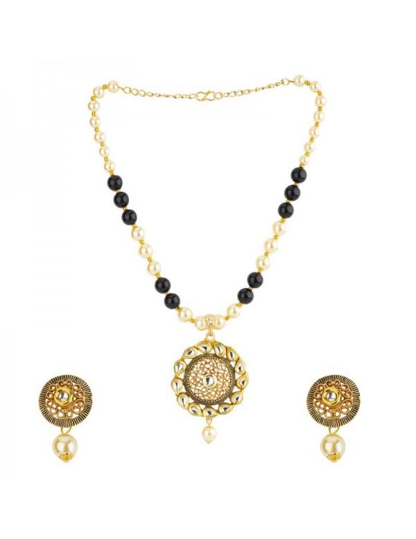 Jewels Galaxy Black GP Kundan studded Pearl Necklace Set 44036