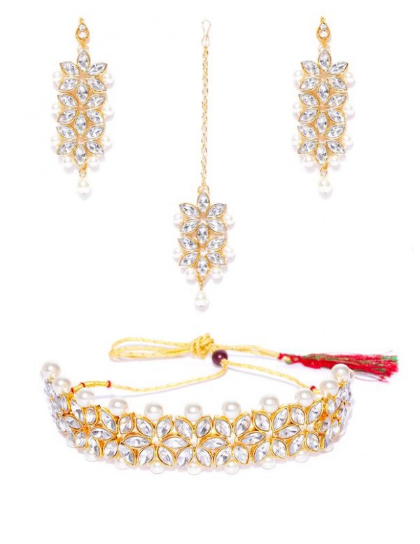 Jewels Galaxy Gold-Toned-Gold Plated AD Studded Necklace Set