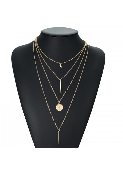 Jewels Galaxy Exclusive Star & Coin Multi Layered Stunning Necklace For Women/Girls