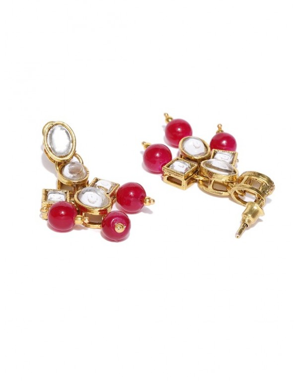 Jewels Galaxy Red Gold-Plated Stone-Studded & Beaded Jewellery Set 44092