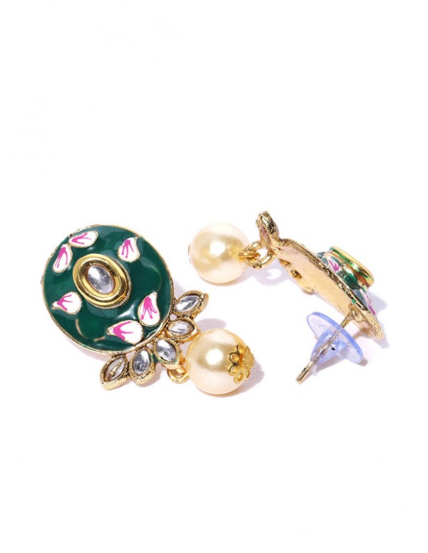 Jewels Galaxy Green Gold Plated Ad studded Pendant Set