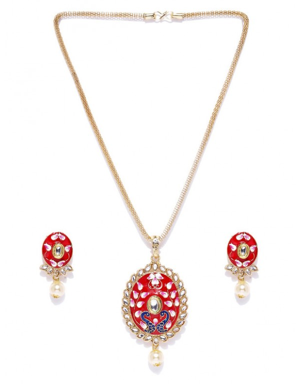 Jewels Galaxy Red Gold Plated Ad studded Pendant Set 44106