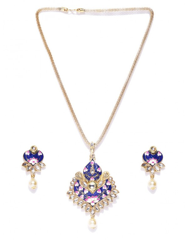 Jewels Galaxy Blue Gold Plated Ad studded Pendant Set