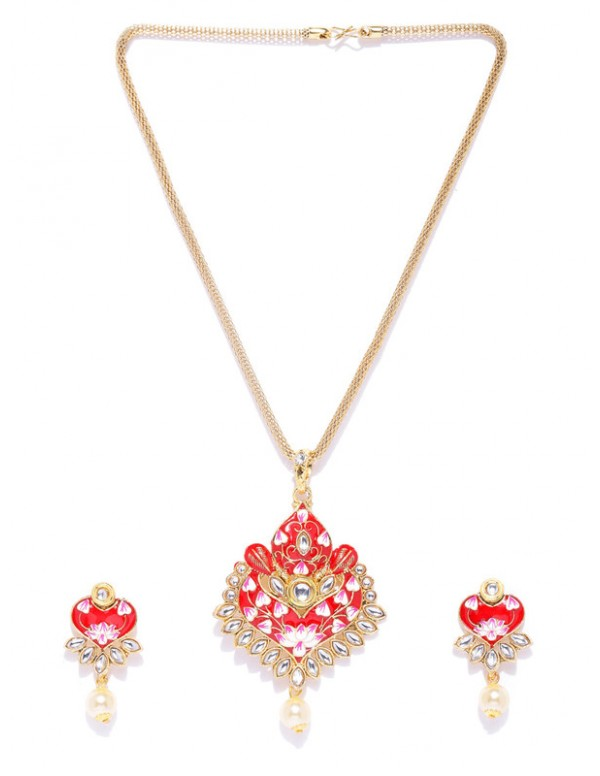 Jewels Galaxy Red Gold Plated Ad studded Pendant Set
