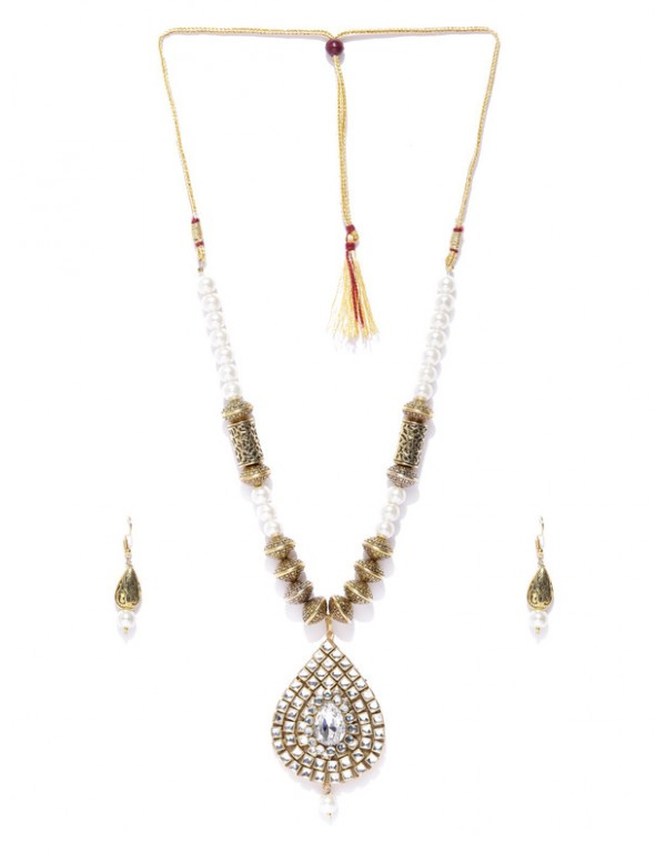 Jewels Galaxy Designer Kundan & Pearl Gold Plated Delicate Necklace Set for Women/Girls