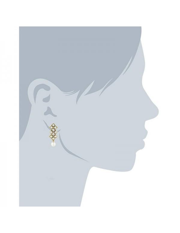 Jewels Galaxy Mesmerizing Kundan & Pearl Gold Plated Fabulous Necklace Set for Women/Girls 44133