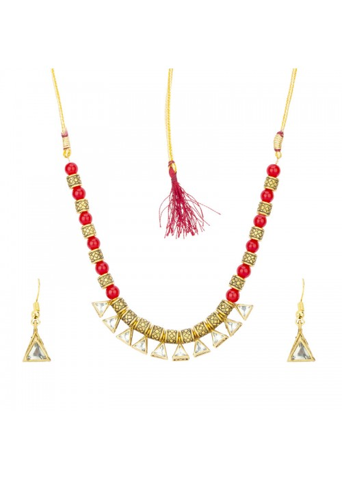 Jewels Galaxy Red Gold Plated Stone Studded & Beaded Jewellery Set