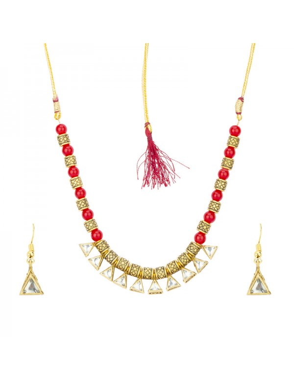 Jewels Galaxy Red Gold Plated Stone Studded & ...
