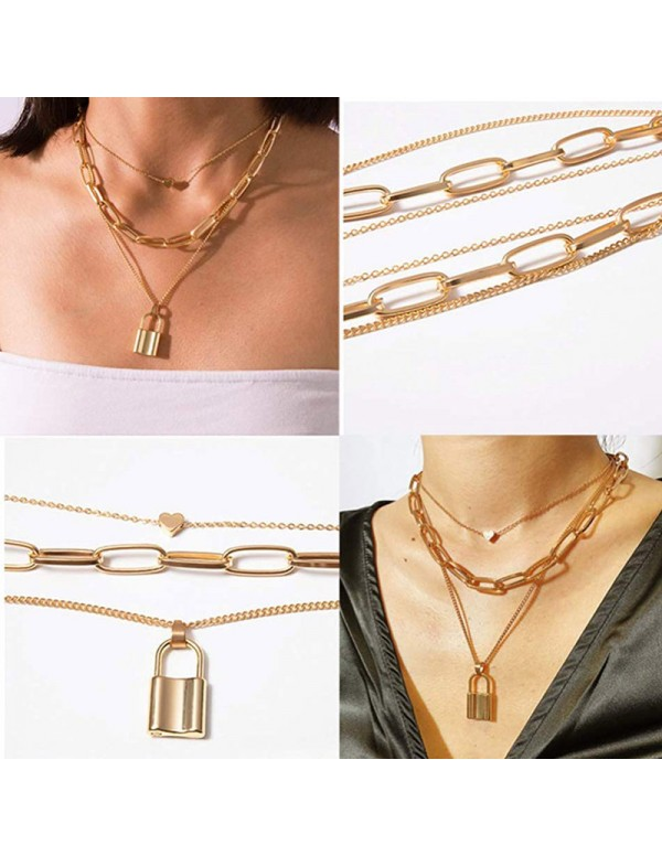 Jewels Galaxy Gold Plated Trending Lock Inspired Layered Necklace Set 44162