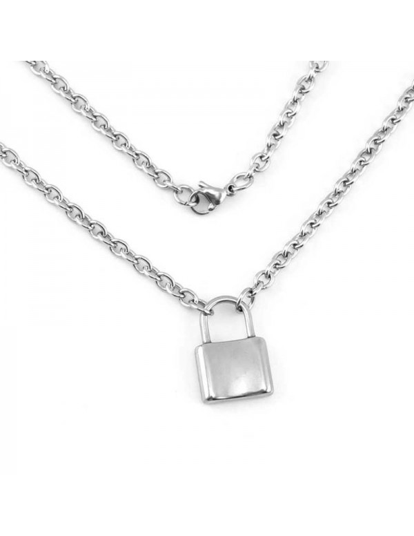 Jewels Galaxy Glitzy Lock Design Silver Plated Chain Necklace For Women/Girls 44170