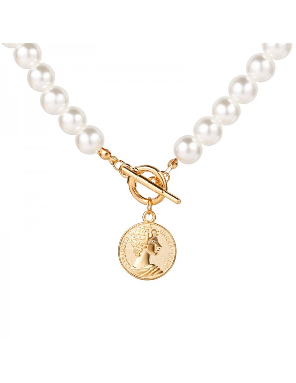 Jewels Galaxy Plushy Pearl Gold Plated Necklace Wo...