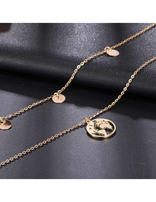 Jewels Galaxy Exquisite Gold Plated Multi Strand Necklace For Women/Girls 44183