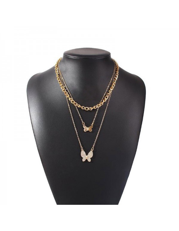 Jewels Galaxy AD Butterfly Multi Strand Gold Plated Necklace For Women/Girls 44192