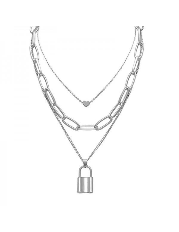 Jewels Galaxy Ravishing Lock Heart Silver Plated N...